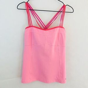 ALO Yoga Strappy Tank Top Pink Built in Bra